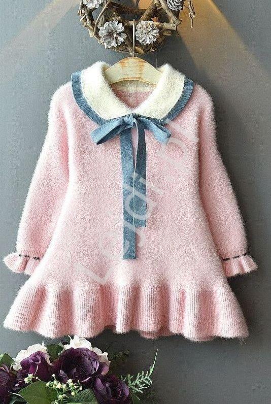 Różowa ciepła elegancka sukienka dla dziewczynki, jak kaszmir 026 - Lejdi