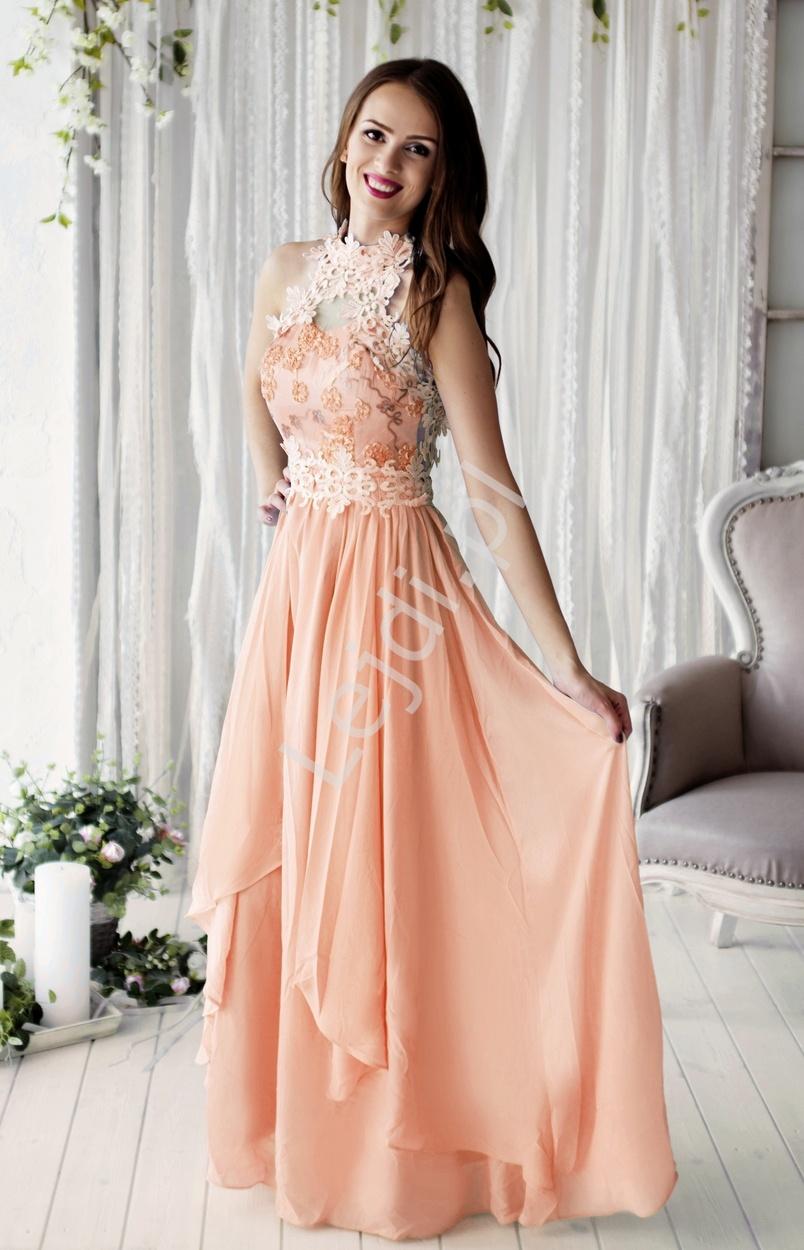 Różowa długa suknia na wesele z kwiatami 3D | różowe długie sukienki wieczorowe dla druhen - Lejdi