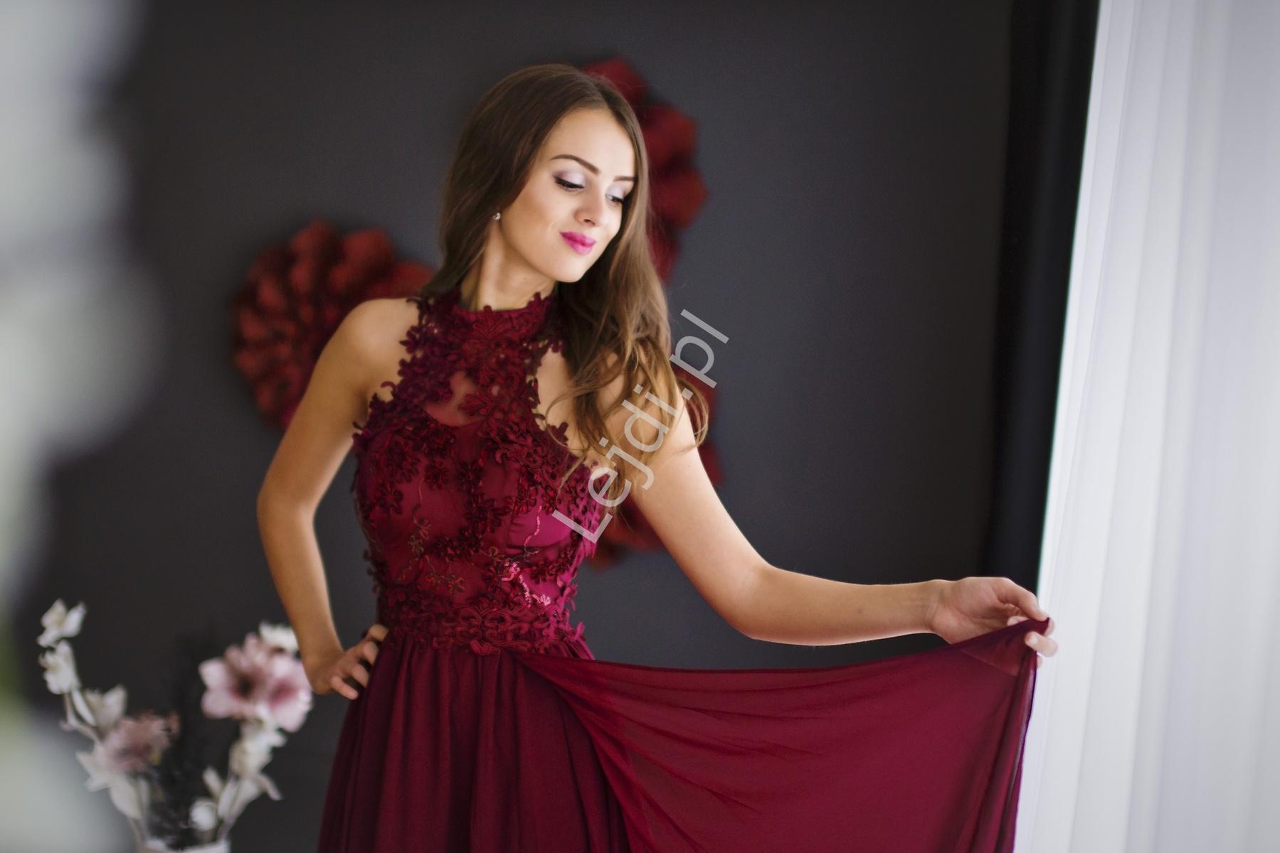 Różowa Długa Suknia Na Wesele Z Kwiatami 3d Dla Druhen Lejdipl