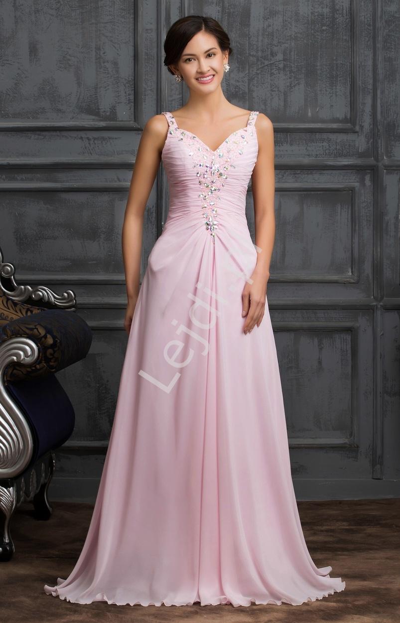 Różowa długa suknia wieczorowa zdobiona kryształkami, koralikami i cekinami - Lejdi