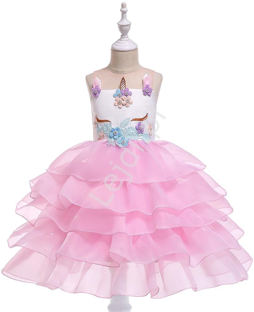 Różowa dziecięca sukienka jednorożec z falbankami na spódnicy 056 - Lejdi