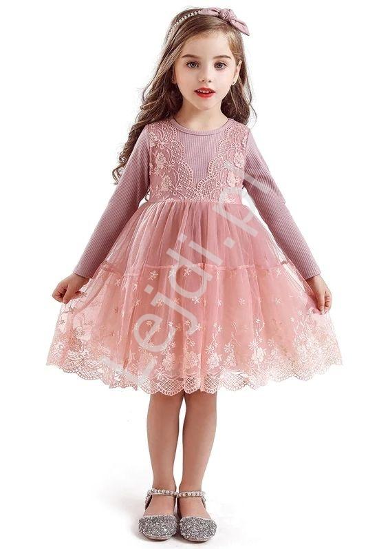 Różowa dziecięca sukienka z tiulową obfitą spódnicą 0081 - Lejdi