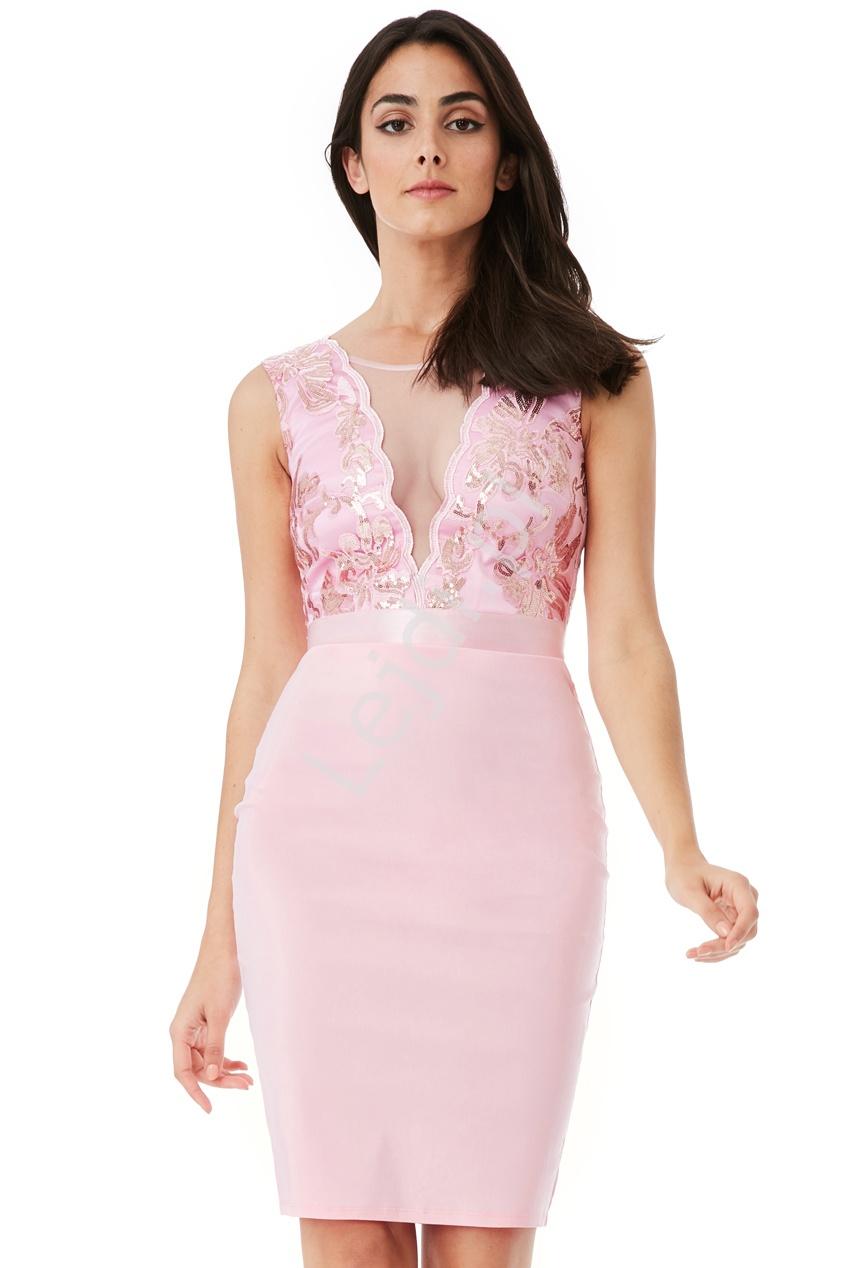 Różowa elegancka sukienka ołówkowa z cekinami Goddiva - Lejdi