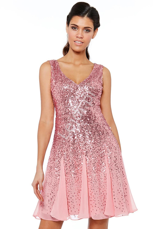 Różowa krótka sukienka cekinowa na sylwestra, wesele, bal 963 - Lejdi