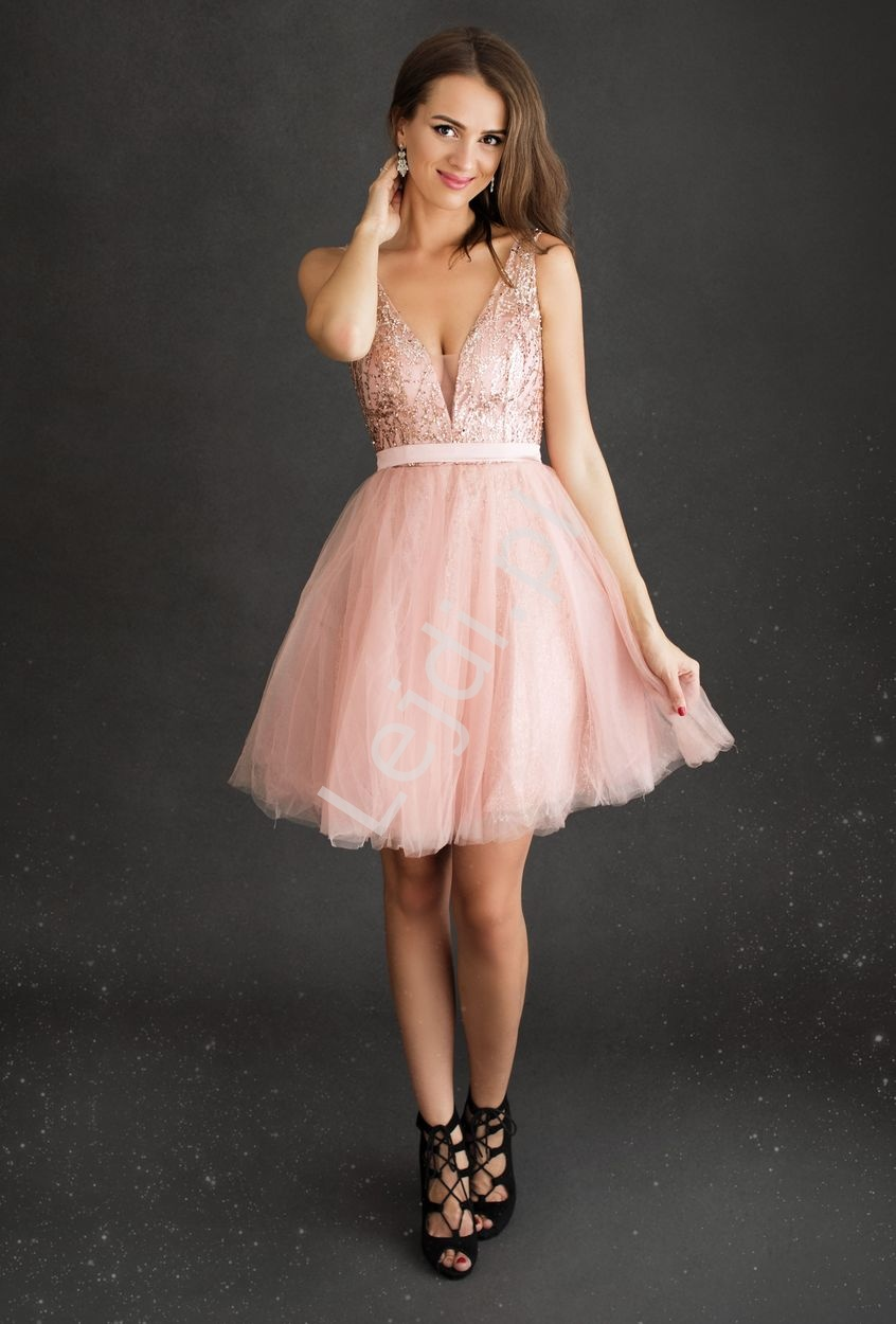 Różowa krótka sukienka wieczorowa z brokatem 2220 - Lejdi