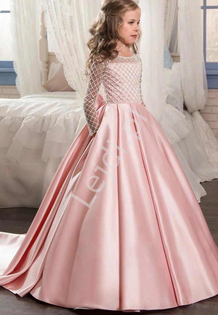 Różowa satynowo bawełniana sukienka dla dziewczynki z trenem 204 - Lejdi