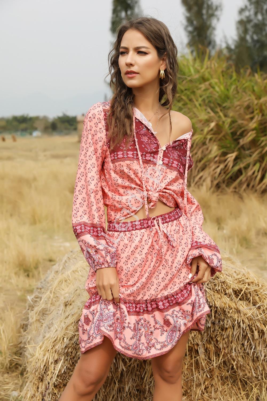 Różowa spódnica i bluzka w stylu etno, letni komplet na lato 0957 - Lejdi