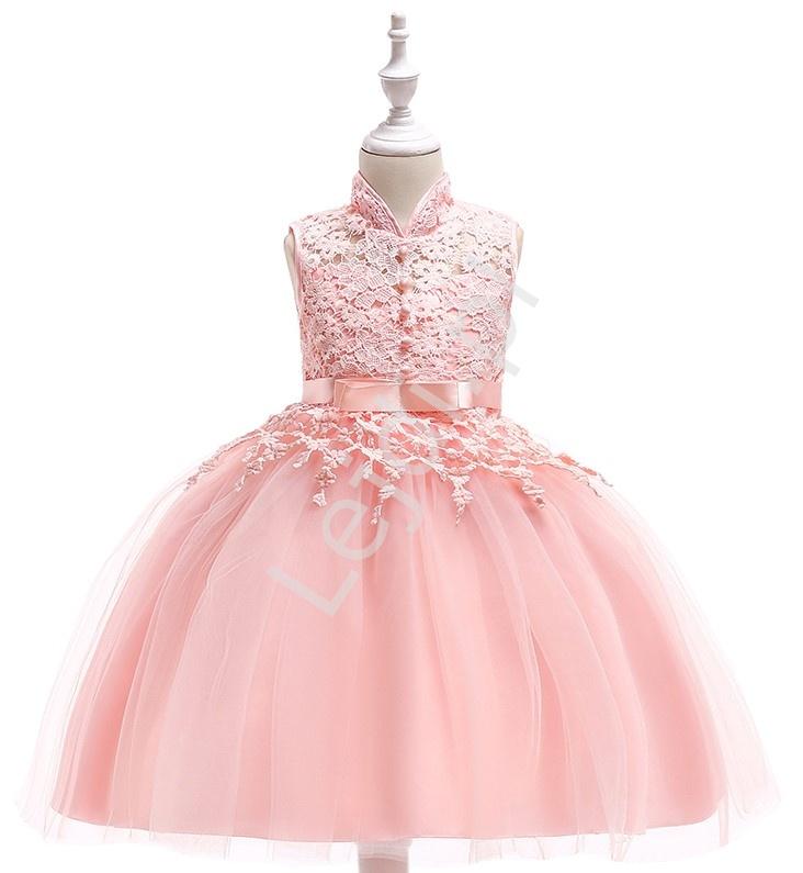 Różowa sukienka dla dziewczynki tiulowo koronkowa ze stójką - Lejdi