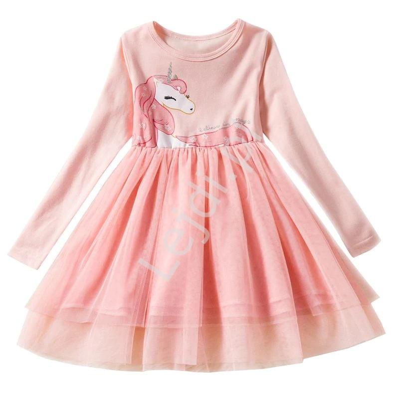 Różowa sukienka dla dziewczynki z jednorożcem 197 - Lejdi