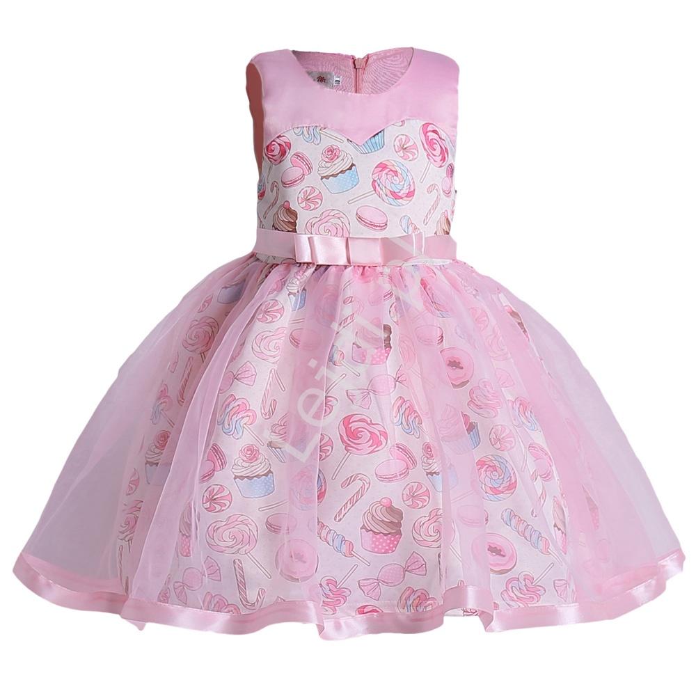 Różowa sukienka dla dziewczynki z lizakami - Lejdi