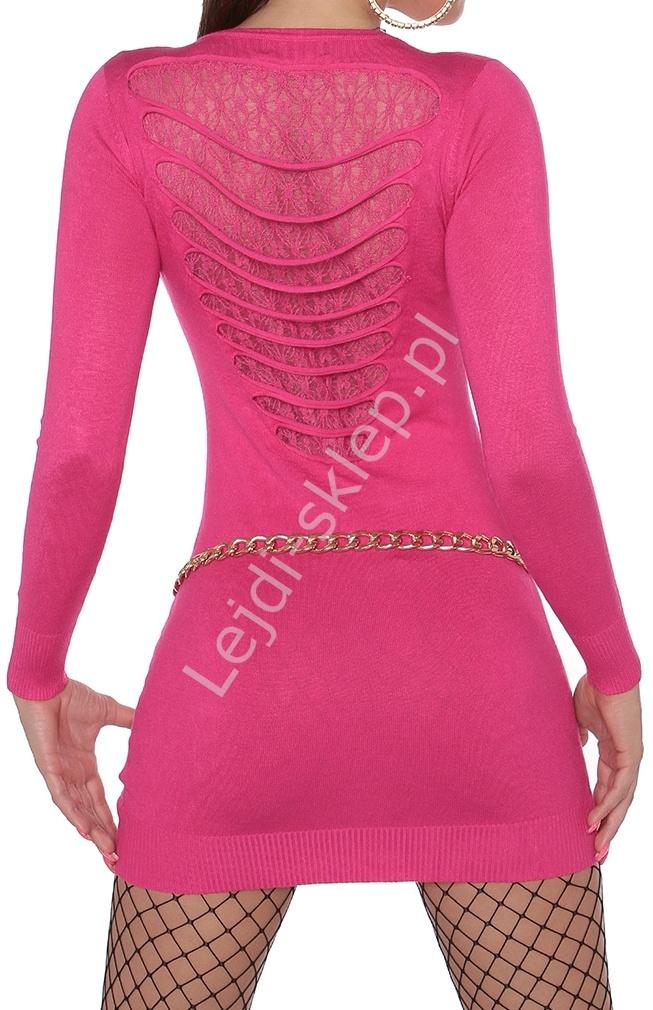 Różowa sukienka dzianinowa z koronką i dziurami 607 - Lejdi