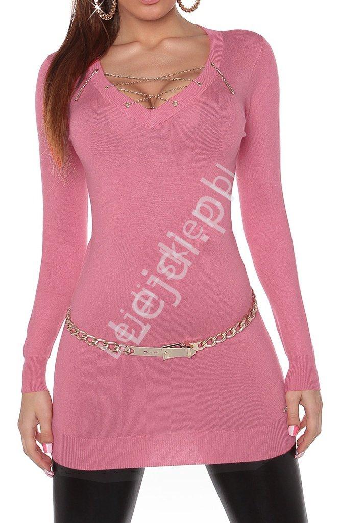 Różowa sukienka lub tunika z dzianiny z wiązanym dekoltem 8039 - Lejdi
