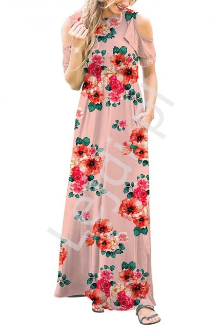 Różowa sukienka maxi w kwiaty z falbankami na ramionach 3519 - Lejdi