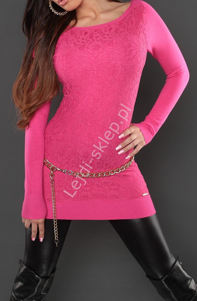Różowa tunika z gipiurową wyrazistą koronką | gipiurowe różowe wizytowe tuniki, 8069 - Lejdi