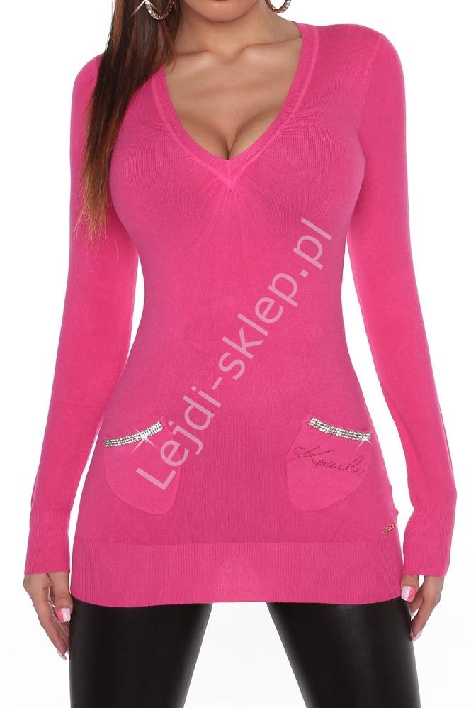 Różowa tunika z kieszonkami zdobionymi cyrkoniami, 30% wełna+sztuczny jedwab, 806 - Lejdi