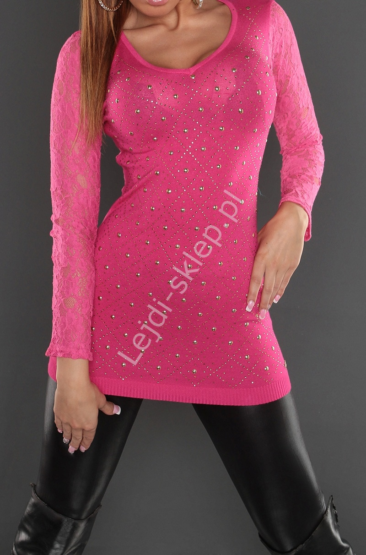 Różowa tunika z koronkowymi rękawami | tuniki damskie z jetami - Lejdi