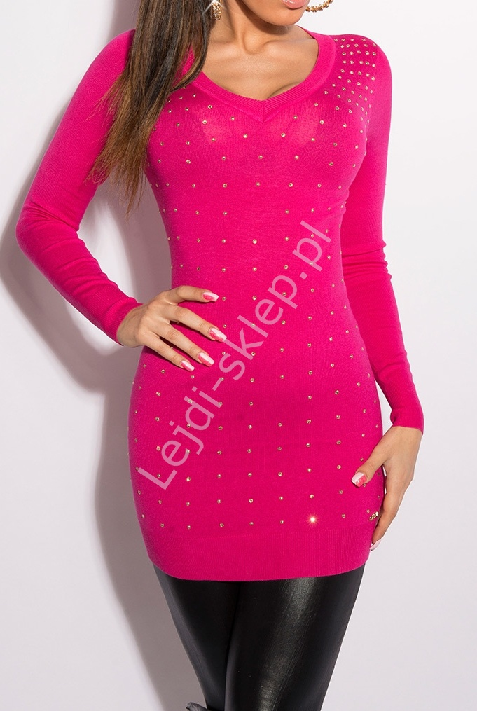 Różowa tunika jasno złotymi cyrkoniami i jetami | różowe długie swetry, 8010 - Lejdi