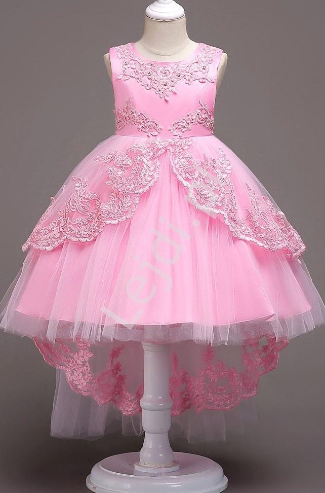 Różowa wieczorowa sukienka dla małej druhny z wydłużonym tyłem 584 - Lejdi