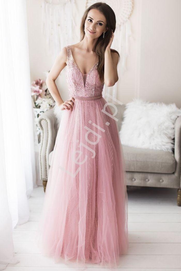 Różowa zachwycająca suknia wieczorowa zdobiona brokatem i sztucznymi perełkami 2185 - Lejdi