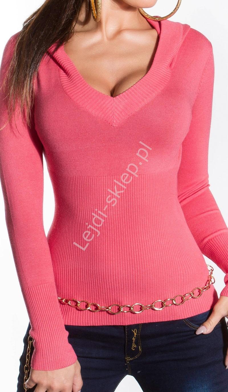 Różowy sweter z kapturem | różowy sweter damski, 080 - Lejdi