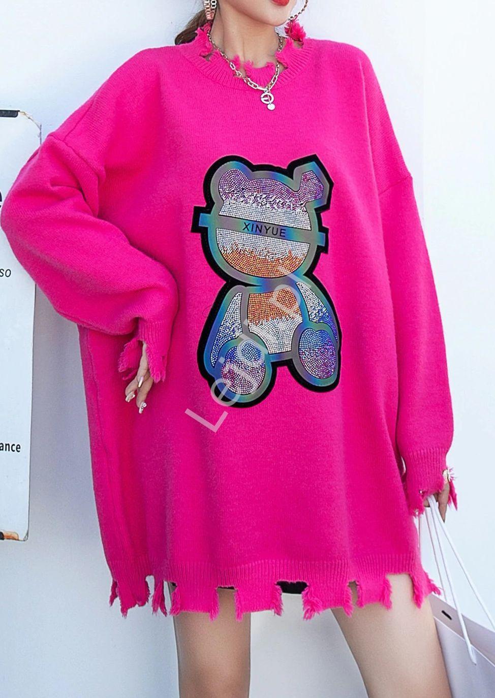Różowy sweter z misiem z kryształków , uniwersalny r.36 - Plus Size - Lejdi