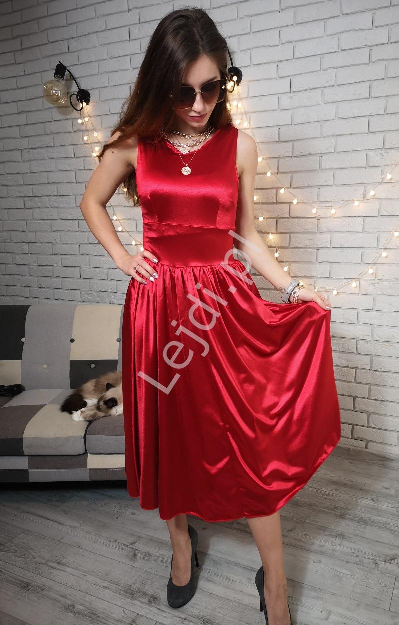 Satynowa czerwona sukienka rozkloszowana 1070 - Lejdi