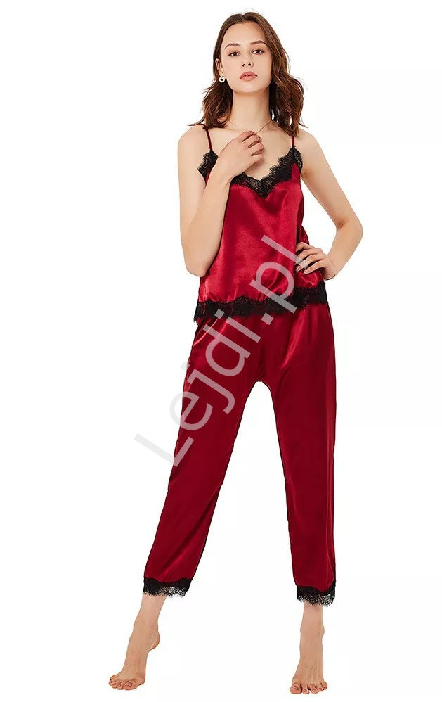Satynowa piżama z koronką, koszulka + długie spodnie 0031 - Lejdi