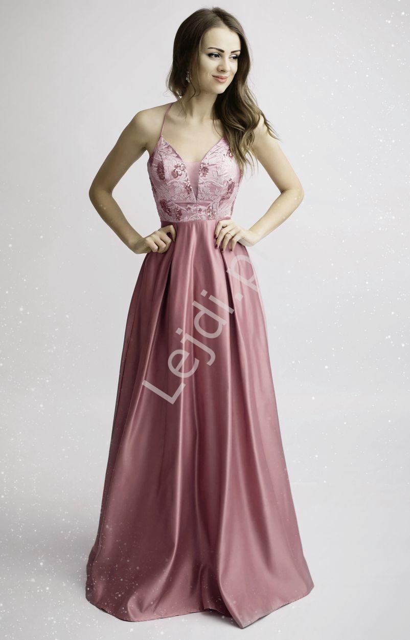 Satynowa suknia wieczorowa z wyeksponowanymi plecami - brudny róż 2168 - Lejdi