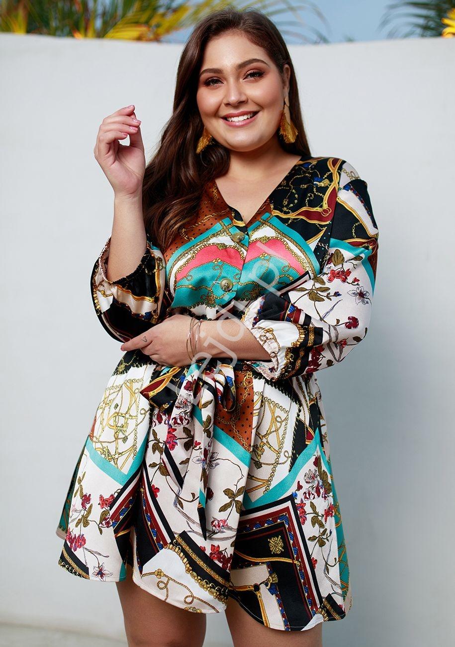 Żorżetowa wzorzysta tunika lub sukienka Plus Size, szmaragdowa, łańcuchy, kwiaty 5129-BU1 - Lejdi