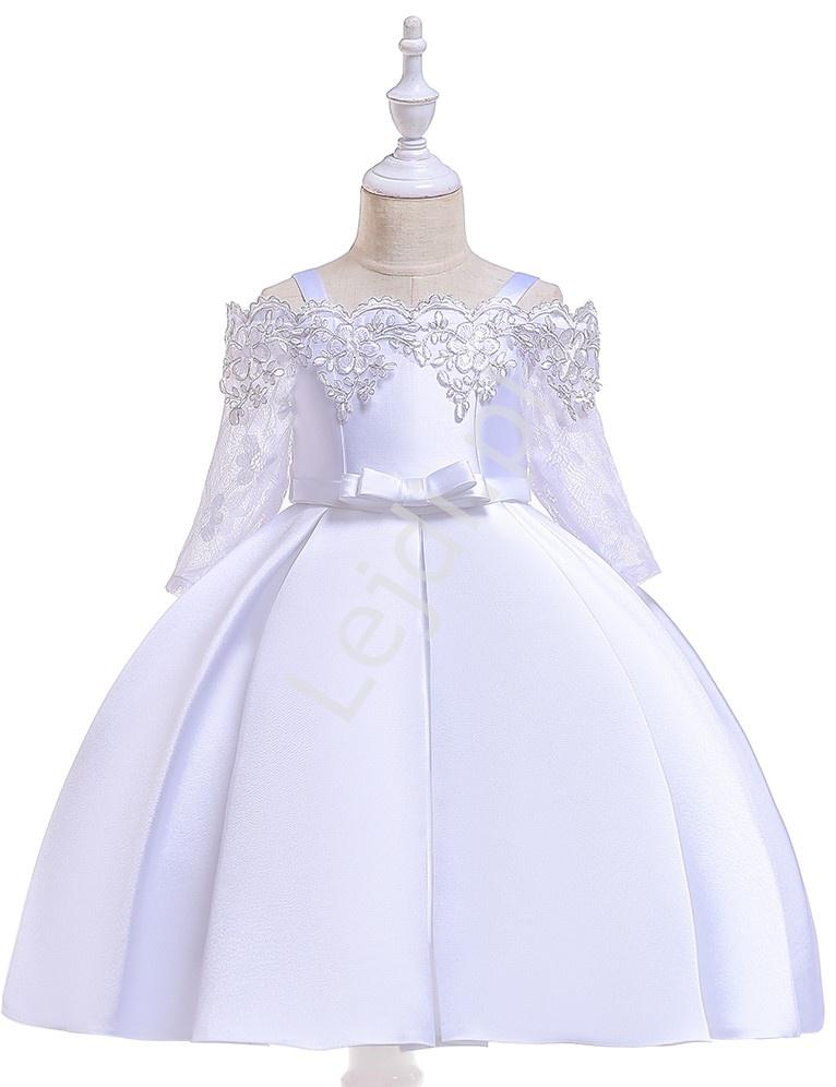 Sukienka na komunię z koronkowym rękawem satynowo bawełniana biała 083 - Lejdi