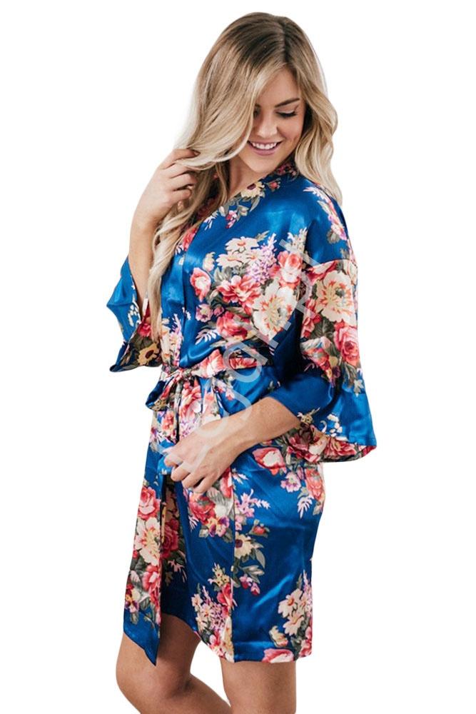 cdd142c6d618b8 Satynowy niebieski szlafrok w kwiatowy wzór 063-5 - Lejdi.pl