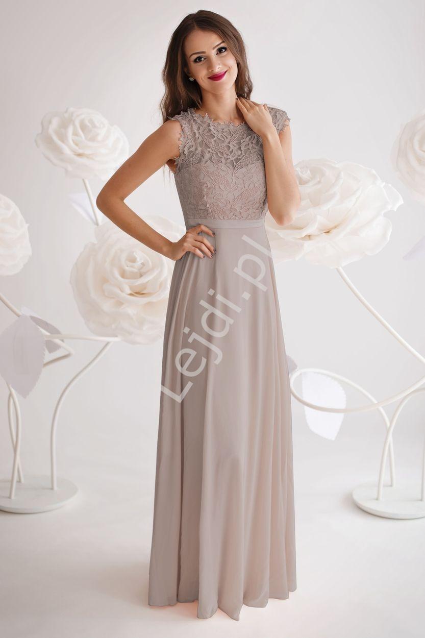 Skromna sukienka wiczorowa z gipiurową koronką na biuście | sukienka wieczorowa taupe - beżowo szary - Lejdi