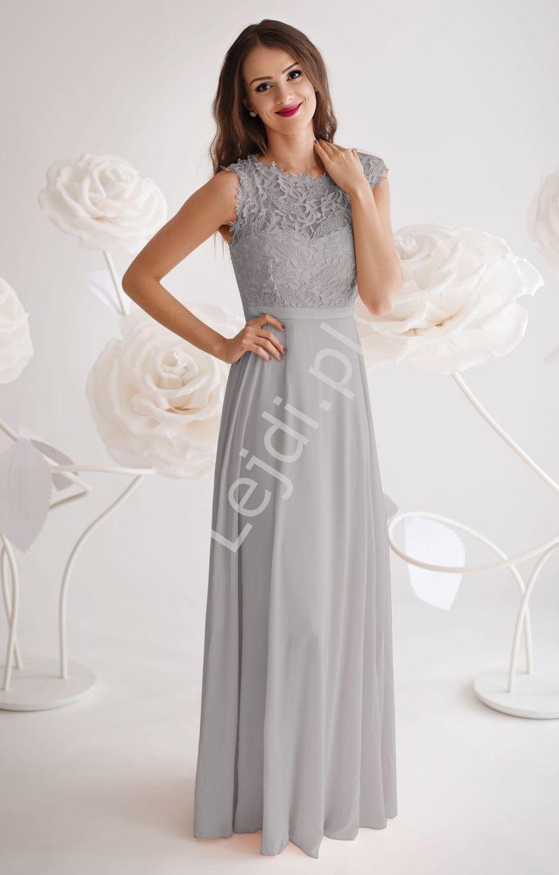 Wieczorowa skromna sukienka z gipiurową koronką na biuście | szara długa suknia na wesele - Lejdi