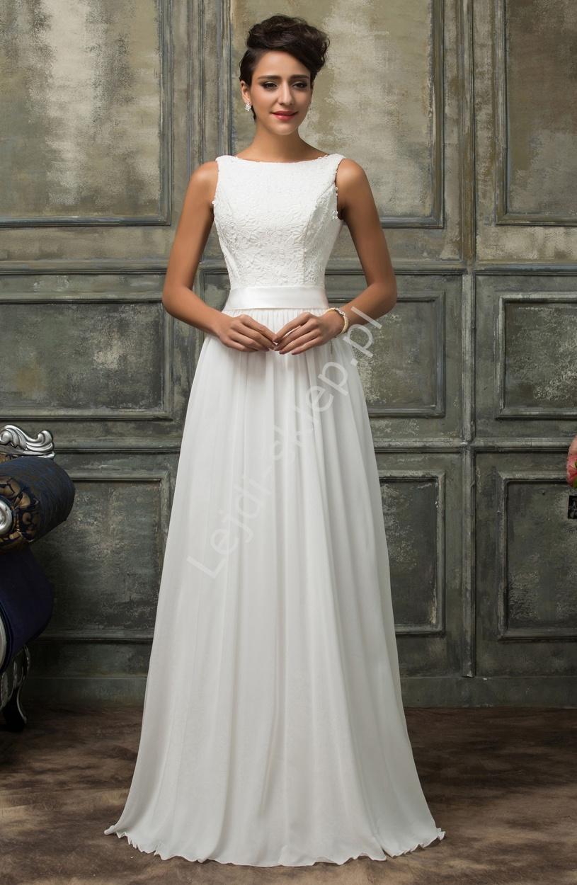 Skromna biała suknia ślubna z gipiurową koronką - Lejdi