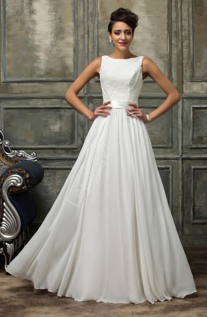 Skromna Suknia ślubna Z Gipiurową Koronką Białe Sukienki Z Koronką