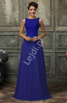 d95fff0bf0 Skromna suknia wieczorowa chabrowa z szyfonu z gipiurową koronką
