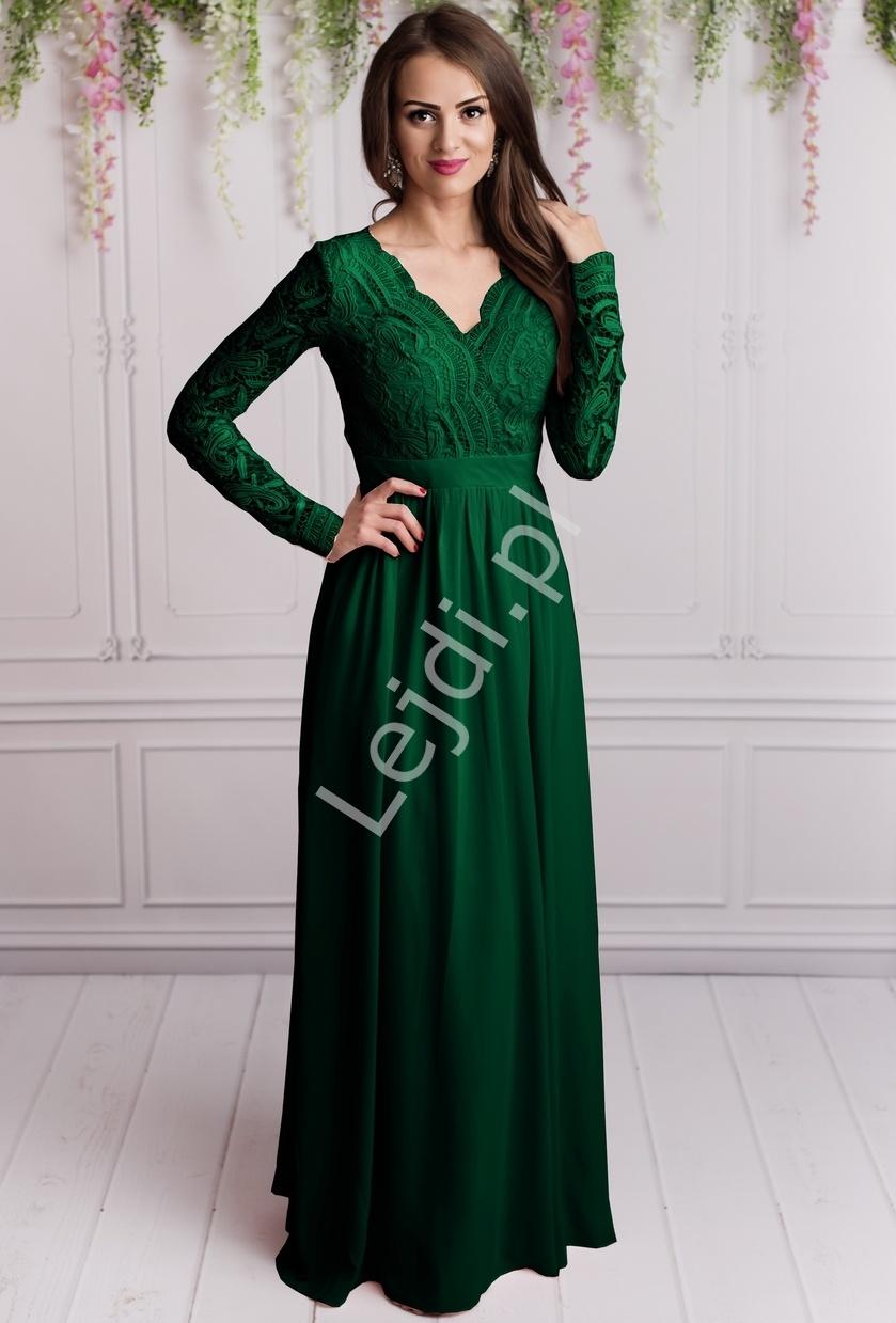 Butelkowo zielona długa szyfonowa suknia wieczorowa z długim koronkowym rękawem - Lejdi