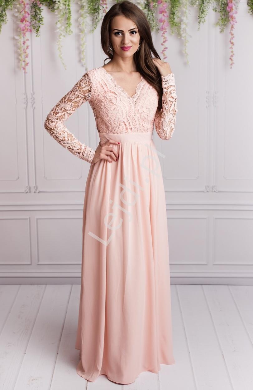 Sukienki na studniowkę, długa jasnoróżowa szyfonowa suknia wieczorowa z długim koronkowym rękawem - Lejdi