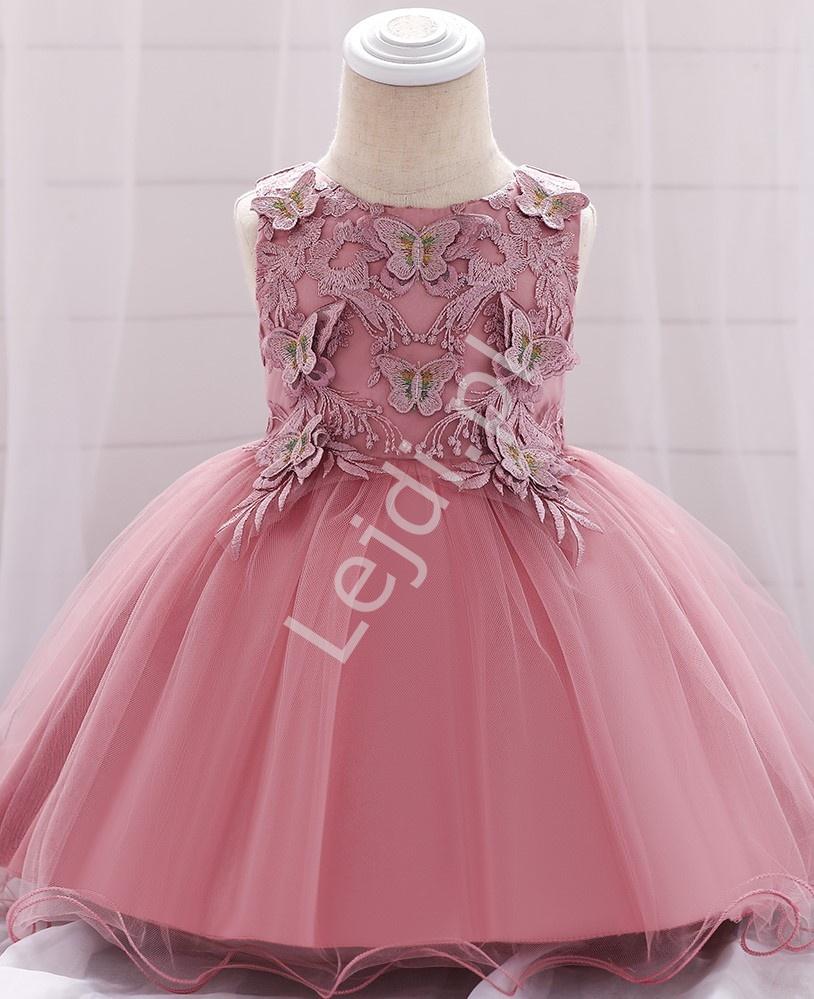 Śliczna sukienka dla niemowlaka z motylkami pustynny róż 899 - Lejdi
