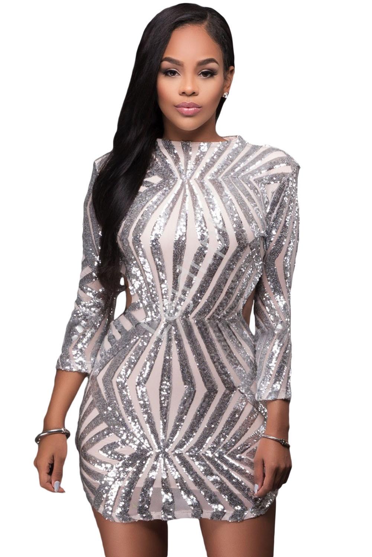 Śliczna sukienka wieczorowa z odkrytymi plecami z srebrnymi cekinami | cekinowe sukienki 891 - Lejdi