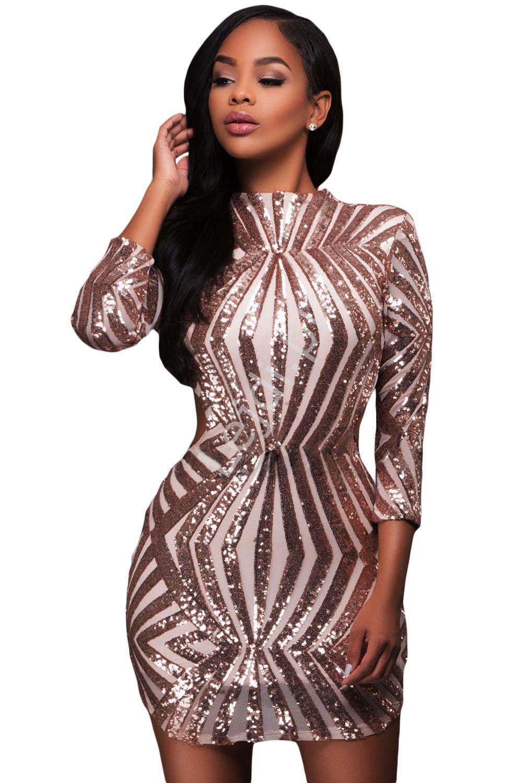 f64faa49ff sukienki na imprezę Śliczna sukienka wieczorowa z odkrytymi plecami ze  złotymi cekinami