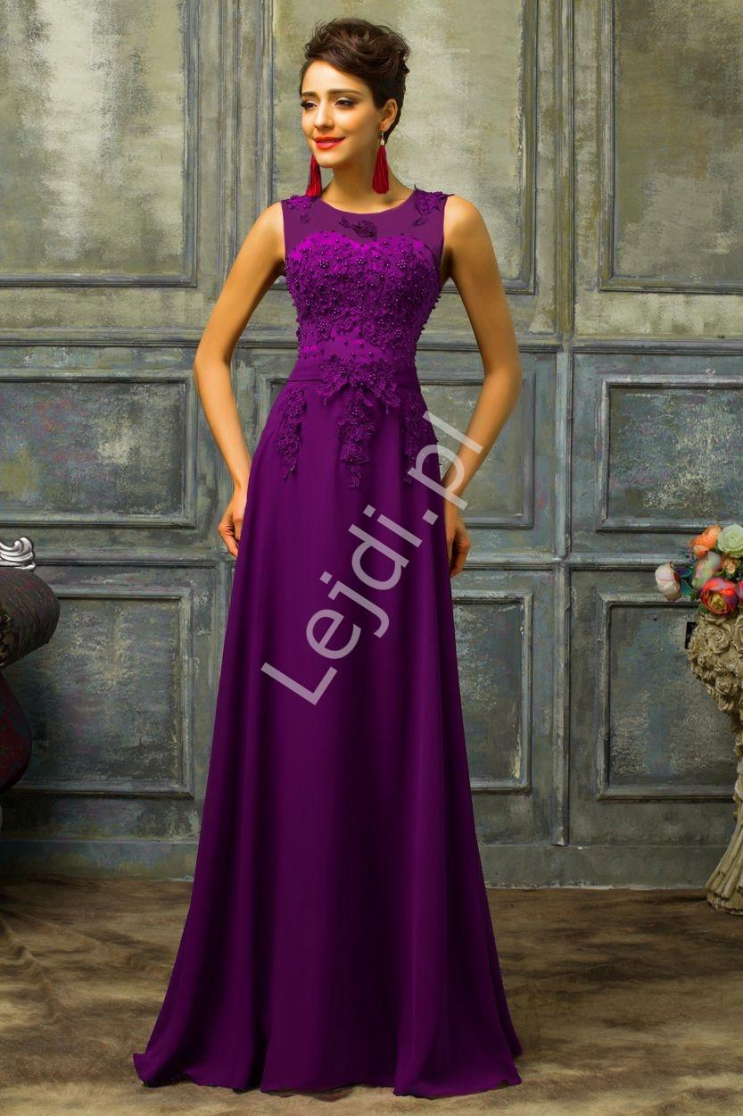 Śliwkowa sukienka wieczorowa z perłami i gipiurą - Lejdi