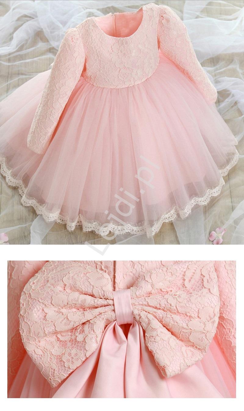 Słodka różowa sukieneczka z koronkową kwiatową górą | sukienki dla dziewczynek - Lejdi