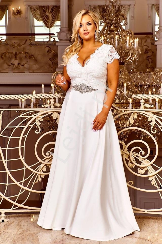 Ślubna sukienka z koronkową górą i cekinami - Crystal 2 - Lejdi