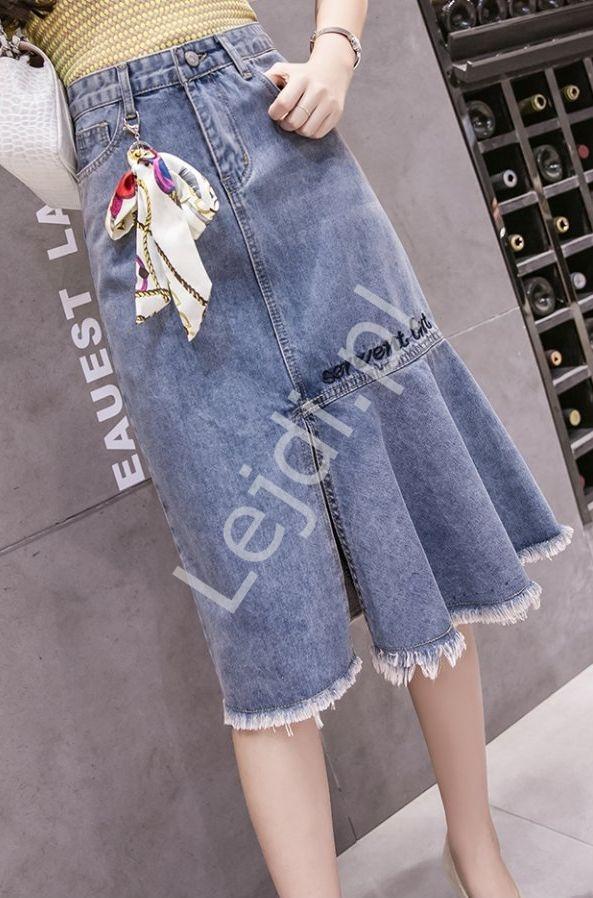 Spódnica jeansowa midi tulipan z apaszką 933 - Lejdi