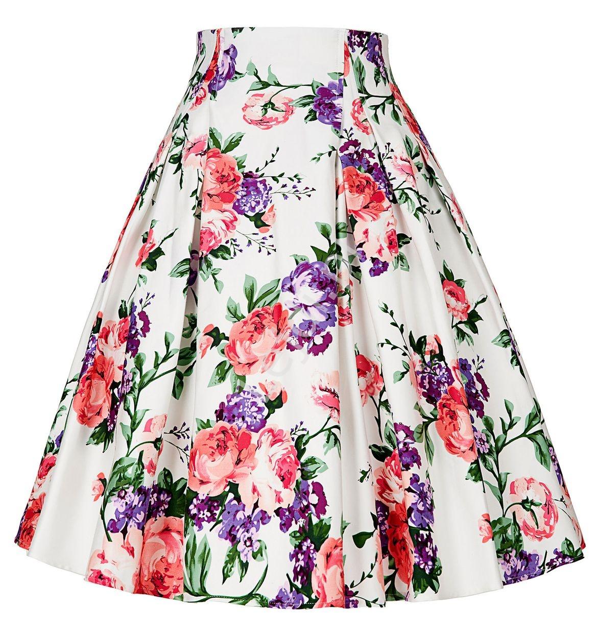 Spódnica w kolorowe kwiaty | rozkloszowana spódnica bawełniana - Lejdi
