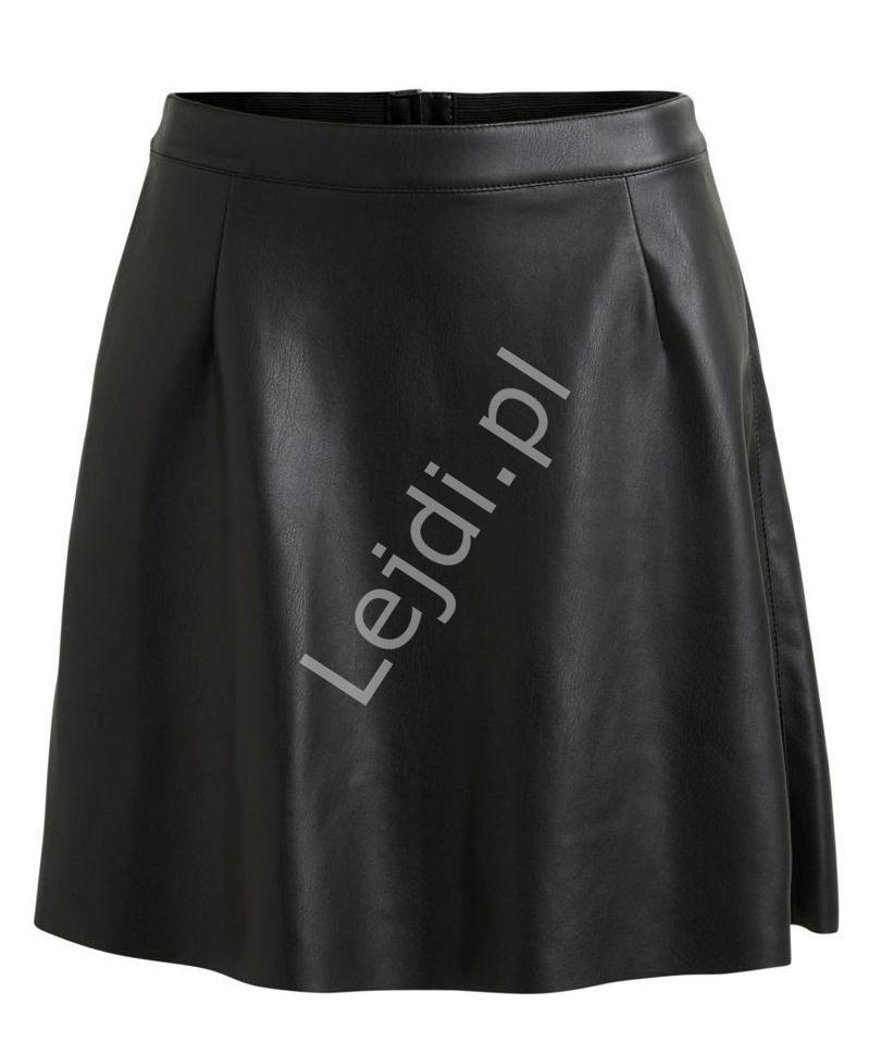 Spódnica z ekoskórki w kolorze czarnym ,VIPEN SKATER - Lejdi