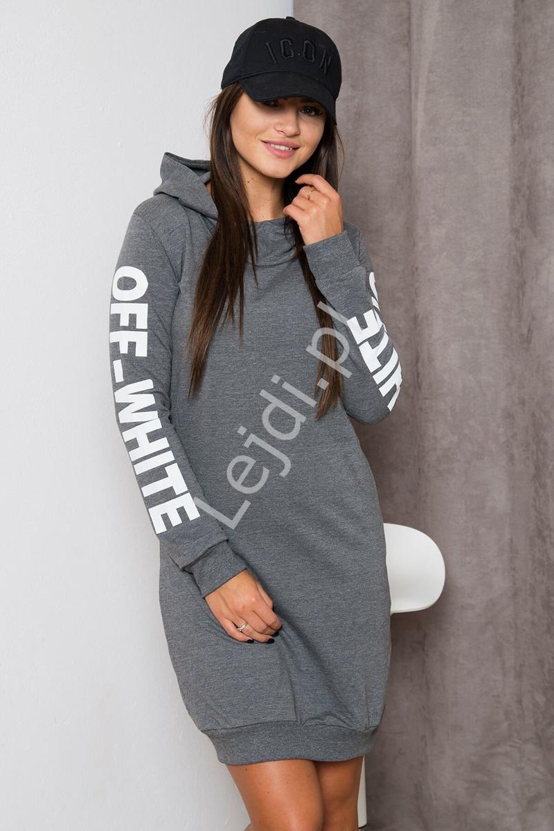 7cd57d85a2 Sportowa sukienka dresowa z kapturem kolor grafitowy melanż - Lejdi.pl