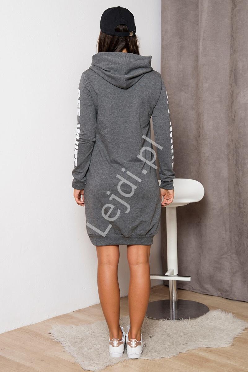 bb23a406fa Sportowa sukienka dresowa z kapturem kolor grafitowy melanż - Lejdi.pl