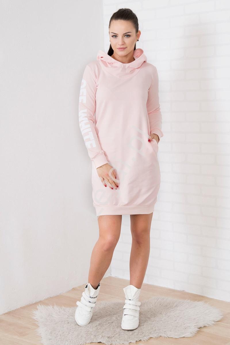 Sportowa sukienka dresowa z kapturem w kolorze pudrowego różu - Lejdi